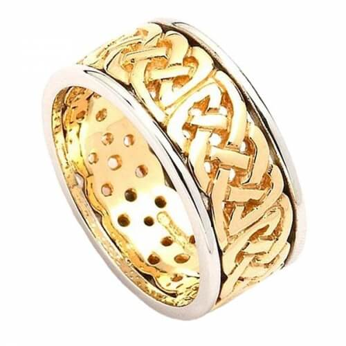 Wide Pierced Wedding Ring with Trim - Yellow and White Gold