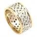 Breite durchbohrte Ehering mit Trim - Weißes und gelbes Gold