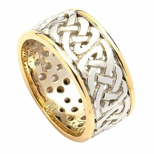 Wide Pierced Wedding Ring with Trim - White and Yellow Gold