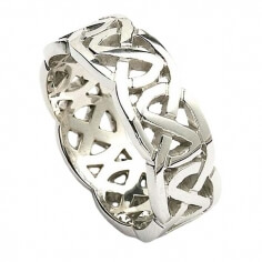 Wide Celtic Wedding Ring - White Gold