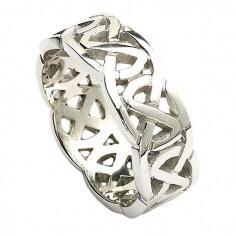 Breiter keltischer Ehering - Weißes Gold