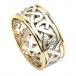 Breiter keltischer Ehering mit Zierleiste - Weißgold mit gelber Zierleiste