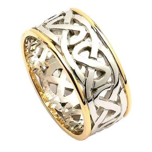 Wide Celtic Wedding Ring with Trim - White Gold with Yellow Trim