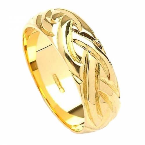Weit keltische Webart Design Ring - Weißes Gold