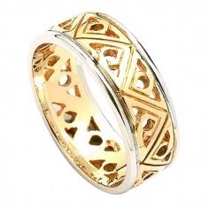Moderne Zweifarbige Dreifaltigkeitsknoten-Hochzeitsband - Gelb mit Weißgold-Zierstreifen