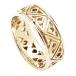 Moderne Zweifarbige Dreifaltigkeitsknoten-Hochzeitsband - Alles gelbes Gold