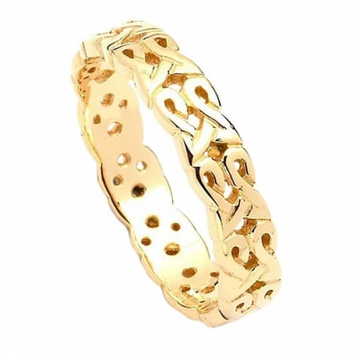 Narrow Celtic Wedding Ring - Yellow Gold