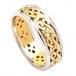 Schmale Keltische Ehering mit Trim - Gelbgold mit weißem Rand