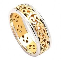 Bague de mariage celtique étroite avec bordure - Or jaune avec bordure blanche