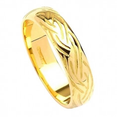 Narrow Celtic Weave Design Ring - Yellow Gold