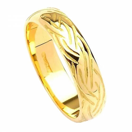 Étroit anneau de conception d'armure celtique - Or jaune