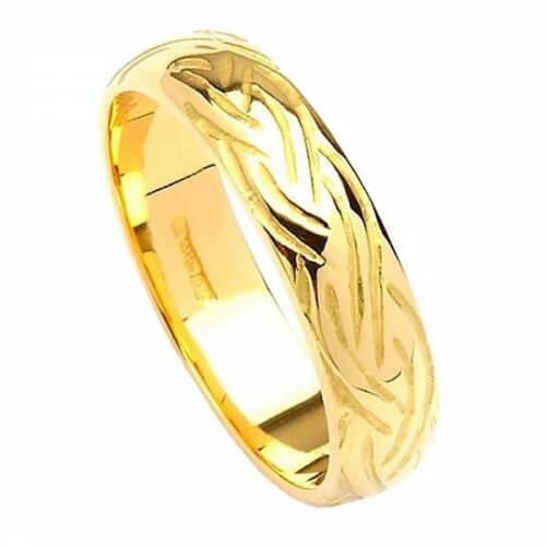 Schmaler Keltische Webart Design Ring - Gelbes Gold
