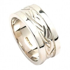 Celtic Weave Wedding Ring with Trim - White Gold