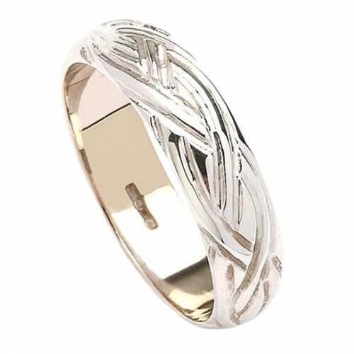 Keltische Webart Hochzeitsband - Weißes Gold