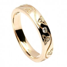 Etain Trinity Spiral Inset Ring - Yellow Gold