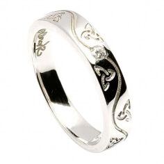 Damen Fianna-Spiralen-Einfügungs ring - Weißgold