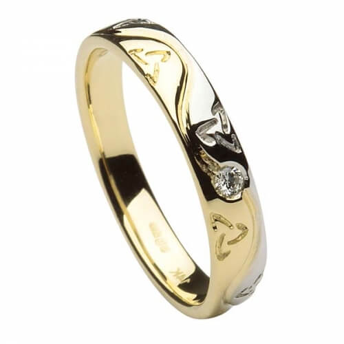 Womens Fidelma Trinity Wedding Ring - Yellow and White Gold