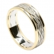 Celtic Weave Band with Trim - White with Yellow Trim