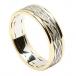 Keltische Webart Ring mit Trim - Weiß mit gelber Leiste
