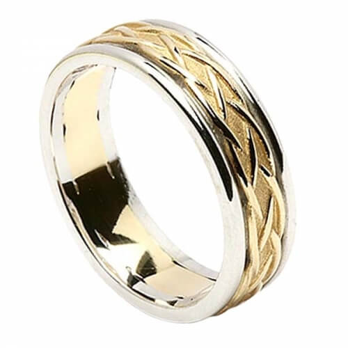 Celtic Weave Band with Trim - Yellow with White Trim