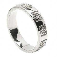 Men's Celtic Wedding Ring - White Gold