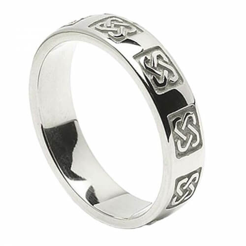 Men's Celtic Wedding Ring - White Gold