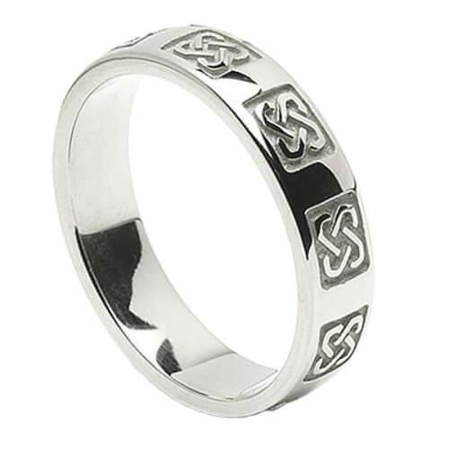 Keltischer Hochzeitsring der Herren - Weißes Gold