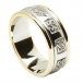 Bague de mariage celtique pour homme avec garniture - Blanc avec bordure en or jaune