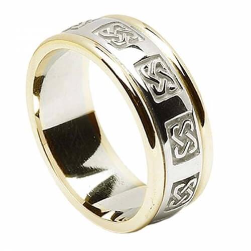 Herren-keltischer Ehering mit trim - Weiß mit Gelbgold Trim
