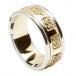 Herren-keltischer Ehering mit trim - Gelb mit weißem Gold trim