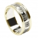 Women's Celtic Wedding Ring with Trim - White with Yellow Gold Trim