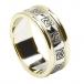 Bague de mariage celtique pour femme avec garniture - Blanc avec bordure en or jaune