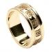Damen keltischer Ehering mit trim - Alles gelbes Gold