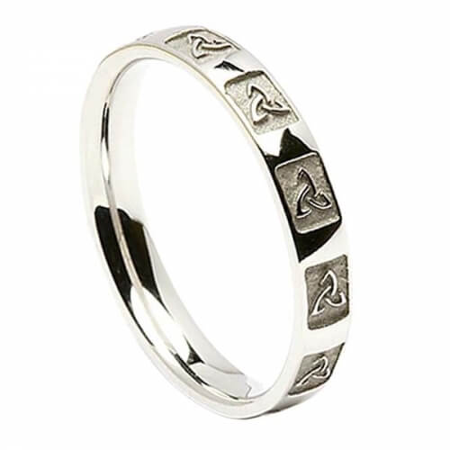 Women's Carved Trinity Knot Wedding Ring - White Gold or Silver