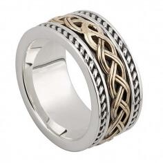 Herren irischen Knoten Ring - Silber und 10 Karat Gold