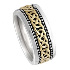 Celtic Lover's Knot Wedding Band - White and Yellow Inset