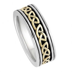 Mens Two Tone Celtic Knot Wedding Ring - White with Yellow Inset