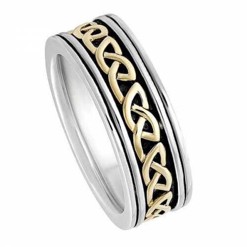 Herren Keltischer Knoten-Hochzeits-Ring mit zwei Tönen - Weiß mit gelbem Einsatz