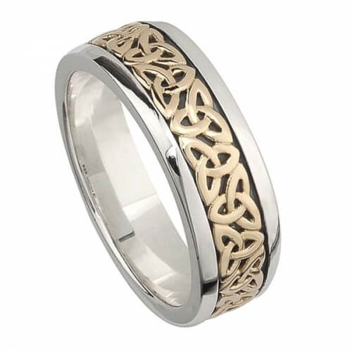 Celtic Knot Wedding Bands.Two Tone Trinity Knot Wedding Ring