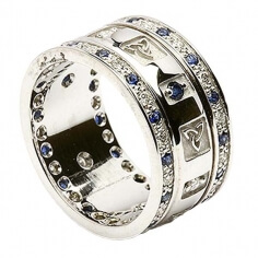 Bague Trinité avec Saphirs et Diamants - Tout l'or blanc