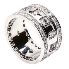 Trinity Knoten Ring mit Diamanten - Alles weißes Gold