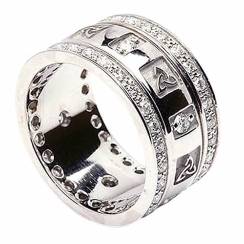 Trinity Knot Ring with Diamonds - All White Gold