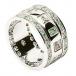 Dreifaltigkeits ring mit Smaragden und Diamanten - Alles weißes Gold