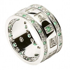 Trinity Ring with Emeralds and Diamonds - All White Gold