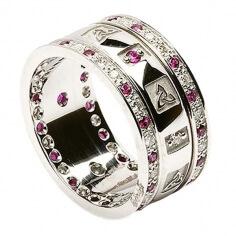 Bague Trinité avec Rubis et Diamants - Tout l'or blanc
