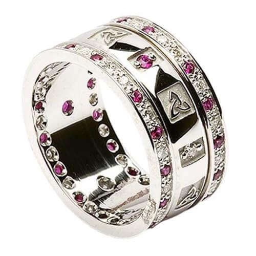 Dreifaltigkeits ring mit Rubinen und Diamanten - Alles weißes Gold