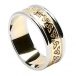 Mens Etched Trinity Wedding Band with Trim - Yellow with White Trim