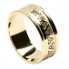 Mens Etched Trinity Wedding Band with Trim - All Yellow Gold