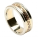 Womens Etched Trinity Wedding Band with Trim - Yellow with White Trim