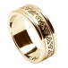 Womens Etched Trinity Wedding Band with Trim - All Yellow Gold